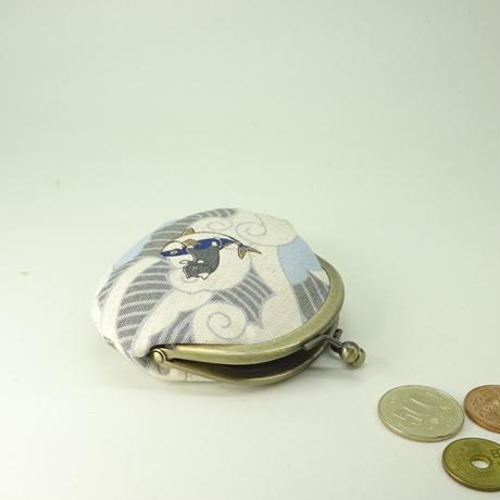 2.6寸丸小銭入れ サーフィンねこ グレー色