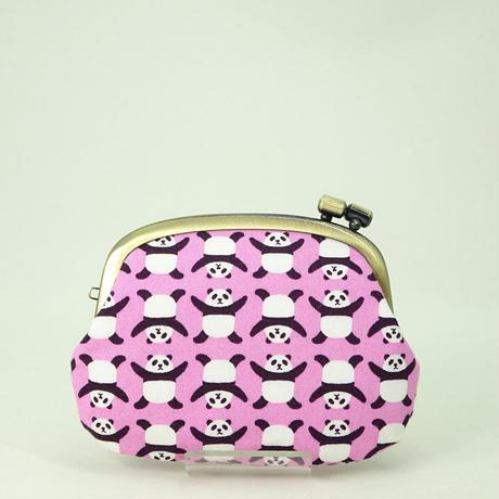 3.0寸タワラ玉横捻り小銭入れ ばんざいパンダ ピンク色