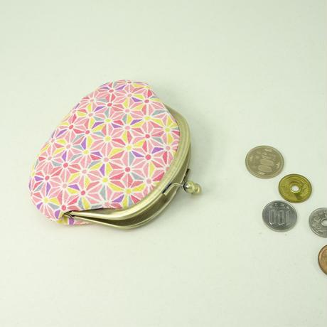 3.3寸丸小銭入れ 麻葉 ピンク色