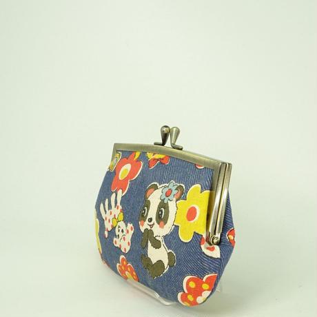 4.3寸角切親子財布 レトロ パンダ くま ブルー色