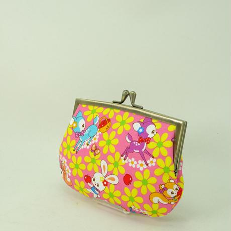 4.3寸角切親子財布 レトロ バンビ・うさぎ・りす・リンゴ ピンク色