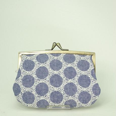 4.3寸角切親子財布 ダンガリー 丸刺繡
