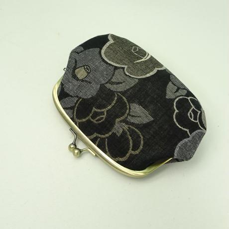 5.5寸クシポーチ ジャガード織 椿 黒色