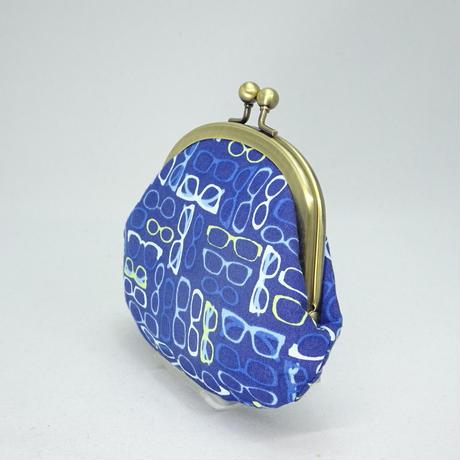 3.3寸丸小銭入れ メガネ柄 青