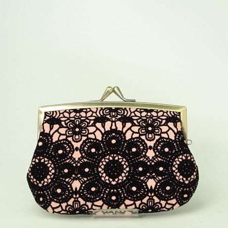 4.3寸角切親子財布 フロッキーレース ピンク色