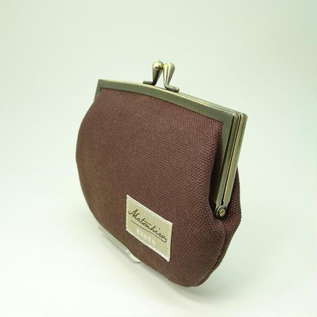 4.3寸角切親子財布 帆布 ブラウン色