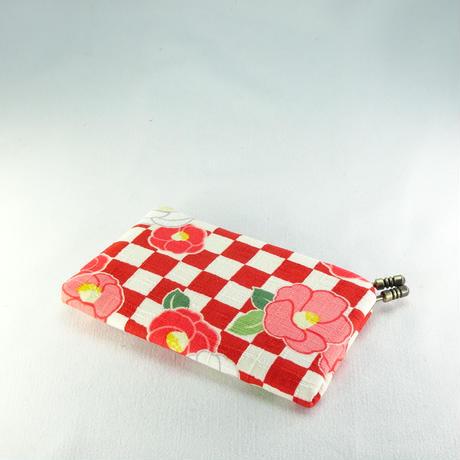 名刺カードケース 市松に椿赤