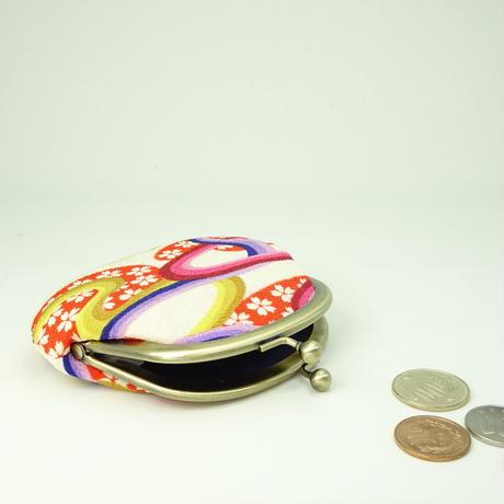 3.3寸丸小銭入れ  ちりめん流水桜 赤色