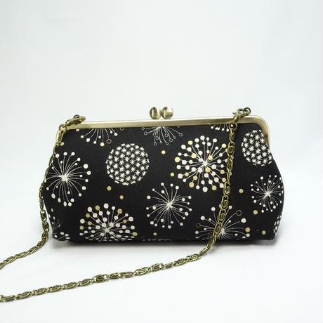 6.8寸碁石玉ショルダーバッグ 綿毛の花ブラック