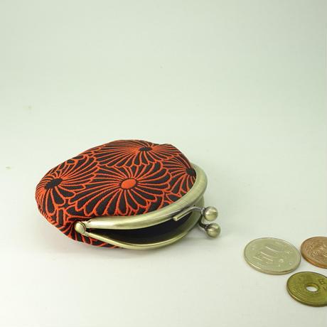 2.6寸丸小銭入れ ふくれ織り菊づくし 赤黒色