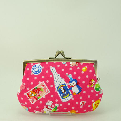 4.3寸角切親子財布 レトロ ジュース と かわいい動物たち ピンク色