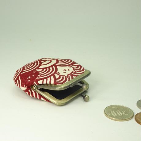 1.8寸豆小銭入れ  青海波ねこ エンジ色