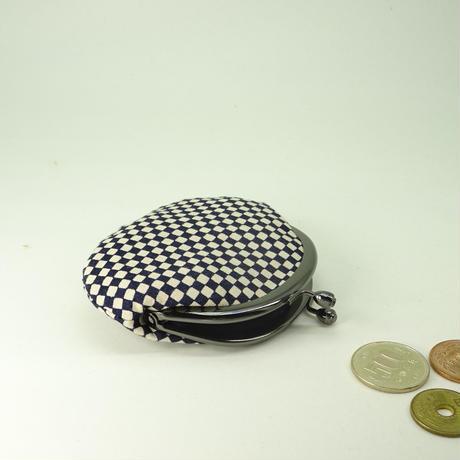 2.6寸丸小銭入れ 市松 濃紺色