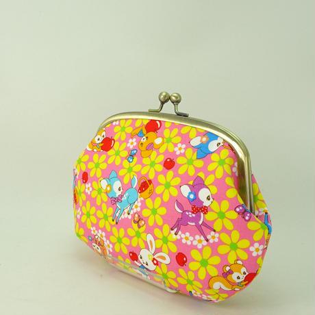 5.5寸クシポーチ レトロ バンビ・うさぎ・りす・リンゴ ピンク色