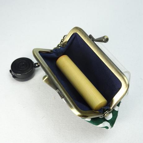 2.5寸印鑑ケース(朱肉付き)唐草 緑