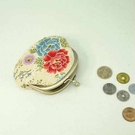 3.3寸丸小銭入れ 牡丹 オフホワイト色