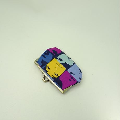 4.3寸角切親子財布 レトロ モンタージュ ブルー色