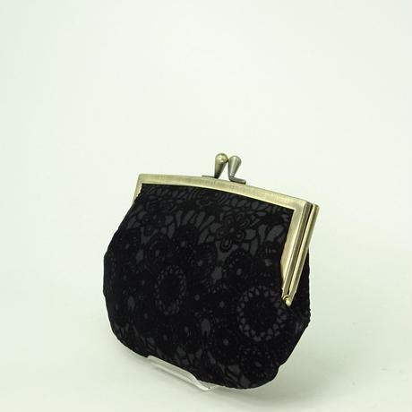4.3寸角切親子財布 フロッキーレース 黒色