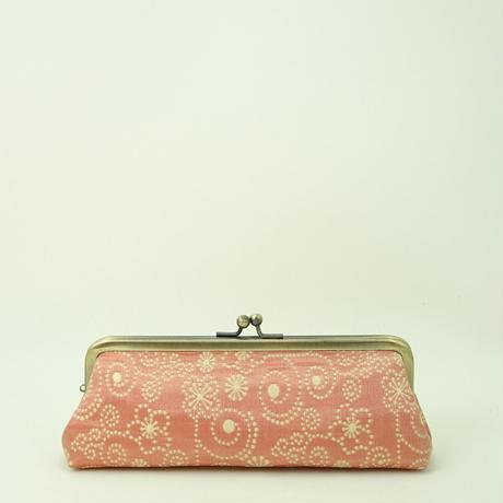 5.5寸ペンケース ふくれ織てんてん メタルピンク色