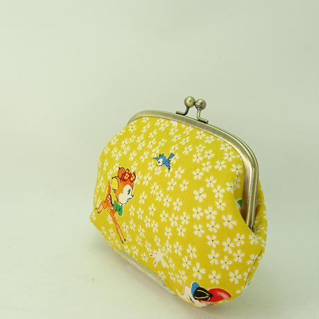 5.5寸クシポーチ レトロ バンビ・ぞう・桜 黄色