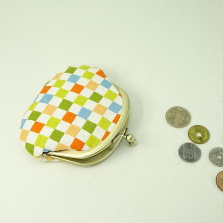 3.3寸丸小銭入れ  カラフル市松 黄色
