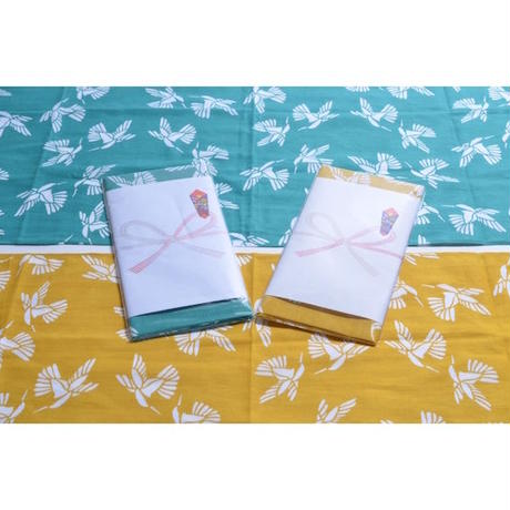"【 tr.4 suspension 】""Humming Bird"" 日本手拭い2枚SET ( YELLOW & TURQUOISE BLUE )"