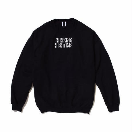 "【 PAPERMIC 】""THINKING HIGH TIME"" CREW SWEAT ( BLACK )"