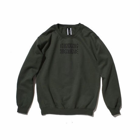 "【 PAPERMIC 】""THINKING HIGH TIME"" CREW SWEAT ( MILITARY GREEN )"