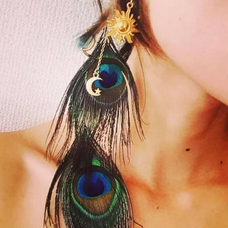孔雀と月星モチーフ✳︎ネイティブ ✳︎イヤーフック  イヤーカフ イヤリング ✳︎ボヘミアン