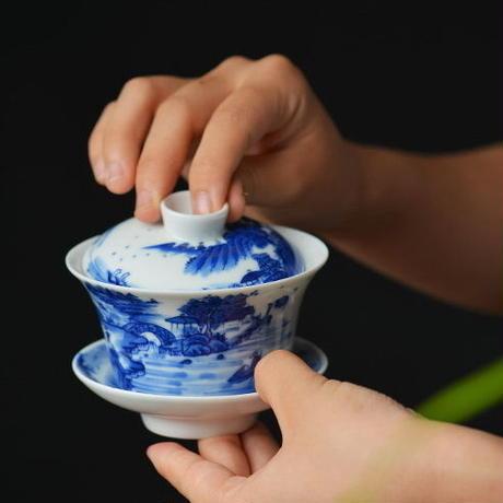 手描き染付蓋碗 山水 PC041