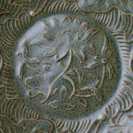 仿耀州窯八方皿 魚戲蓮紋 PC081
