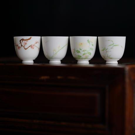 手描き茶杯セット 四君子  PC110