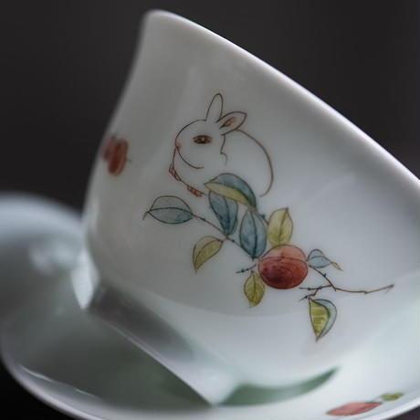 手描き蓋碗 兎 PG057