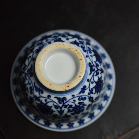 手描き染付圧手杯茶杯 明永楽款 PC003