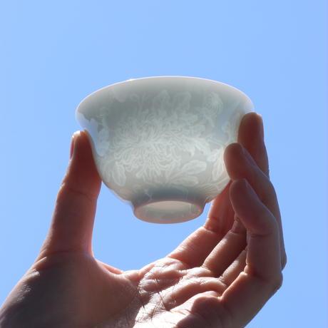 青白磁茶杯 四君子 PG038