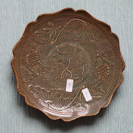 「瑕疵品」仿耀州窯八方皿 魚戲蓮紋 PC081