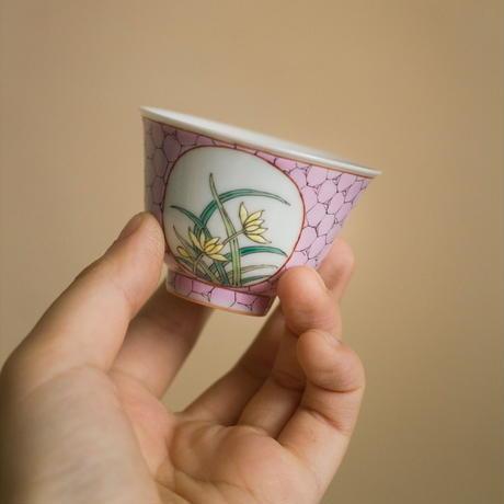 開窓茶杯 氷裂紋と蘭 PA015