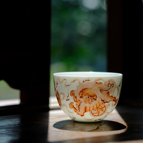 礬紅茶杯 獅子 PC103