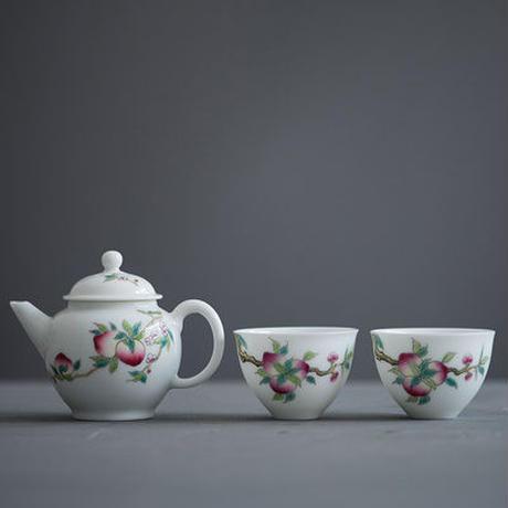 手描き茶壺 桃 PG005
