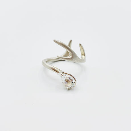 Deer ring R white topaz