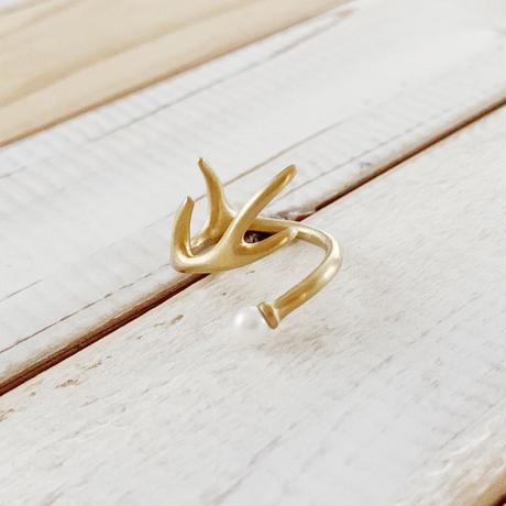 Deer ring L  pearl