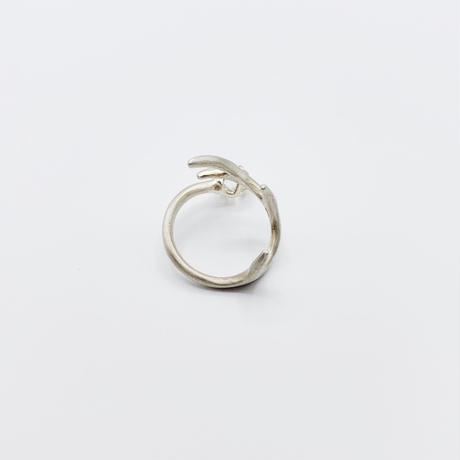 Deer ring L green quartz