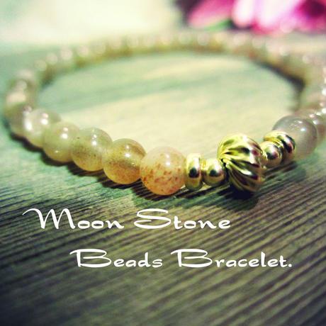 """""""Orange Moon Stone"""" Beads Bracelet【14K YG】"""