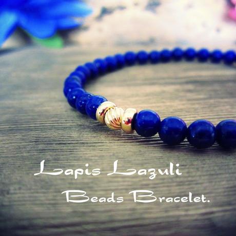"""Lapis Lazuli"" beads Bracelet【14K YG】"