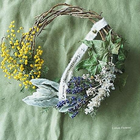 Mimosa and lamb's ear wreath