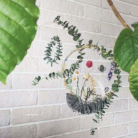 Eucalyptus and cotton flying wreath
