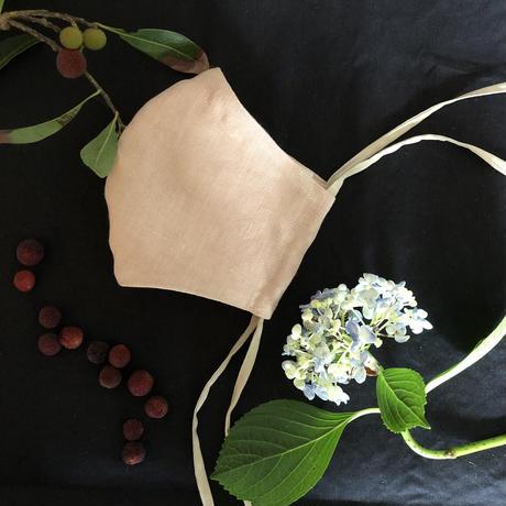 【柘榴洋裁店】植物染め布マスク(ヤマモモの葉と紫陽花)