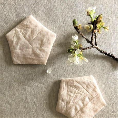植物染めのコースター【山桜/麻】