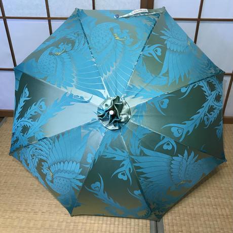 ハンドメイド 日傘 de 着物 水色鳳凰
