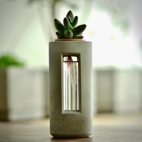 """PLUG - S20 - ""   ハイドロカルチャー・水栽培容器/花瓶/Cement Flower Vase"
